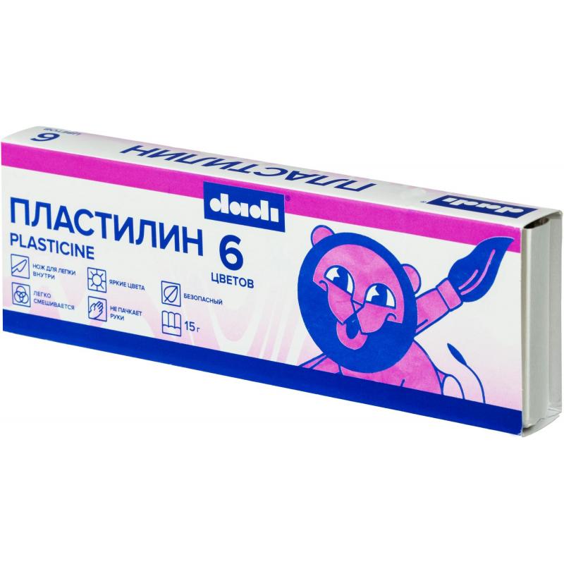 Пластилин классический dadi 15г 6 цв., DPL15-06A