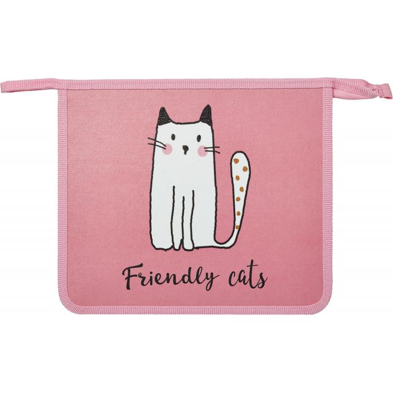 Папка для тетрадей 1School Friendly cats,А5,молн.,пласт.+лам.картон,ПТ-715