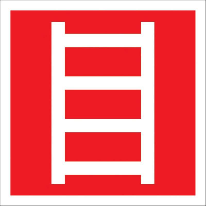Знак безопасности F03 Пожарная лестница, 200x200 мм, пленка