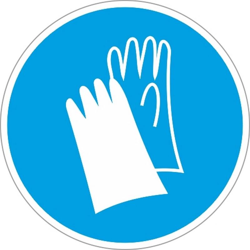 Знак безопасности M06 Работать в защитных перчатках (плёнка,200х200)
