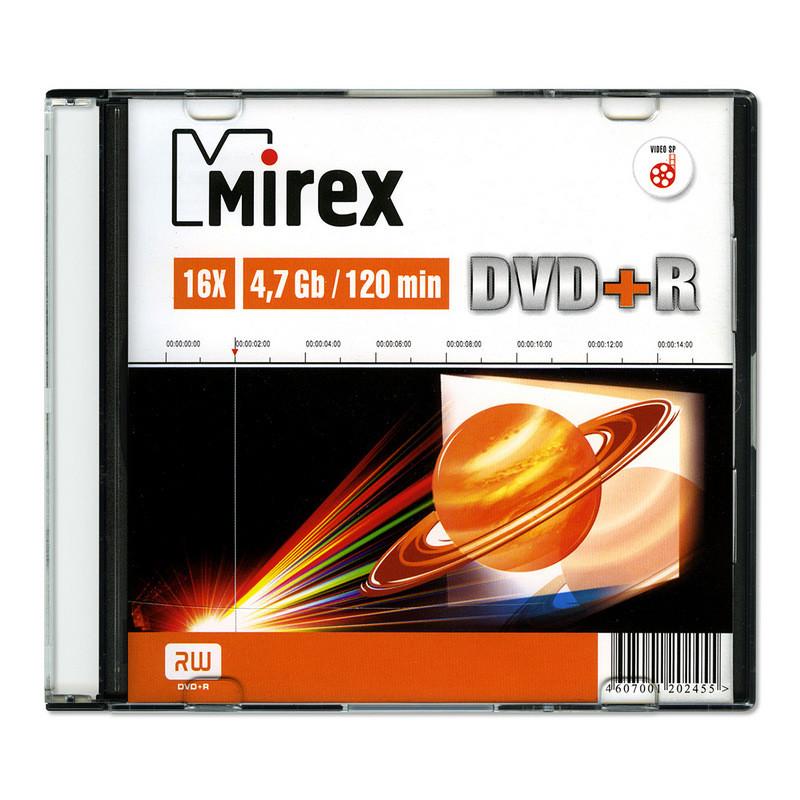 Носители информации DVD+R, 16x, Mirex, Slim/1, UL130013A1S