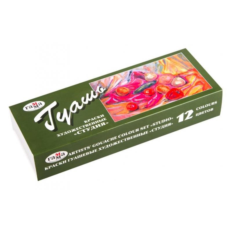 Гуашь художественная Гамма Студия, 12 цветов, 40мл, картон. упак., 221029