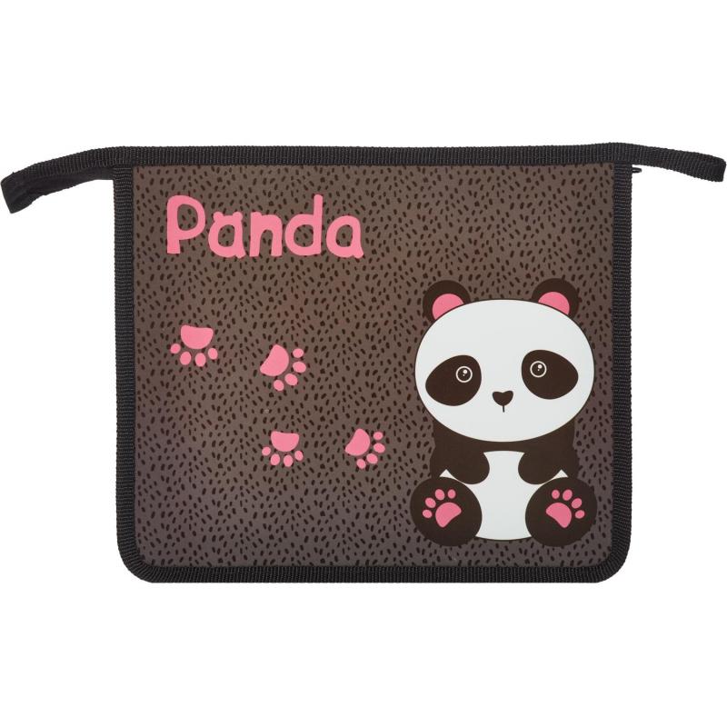 Папка для тетрадей 1School Panda,А5, молния, пластик, ПТ-735