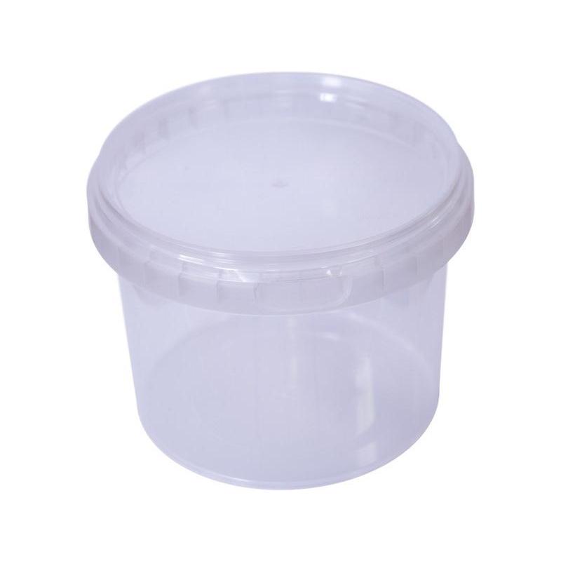 Ведро п/п 0,55  литра круглое БЕСЦВЕТНОЕ с БЕСЦЕТНОЙ/БЕЛОЙ  крышкой