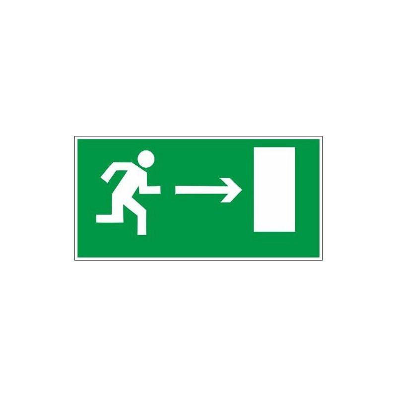 Знак безопасности E03 Направл-е к эв.вых.направо (плёнка,300х150)