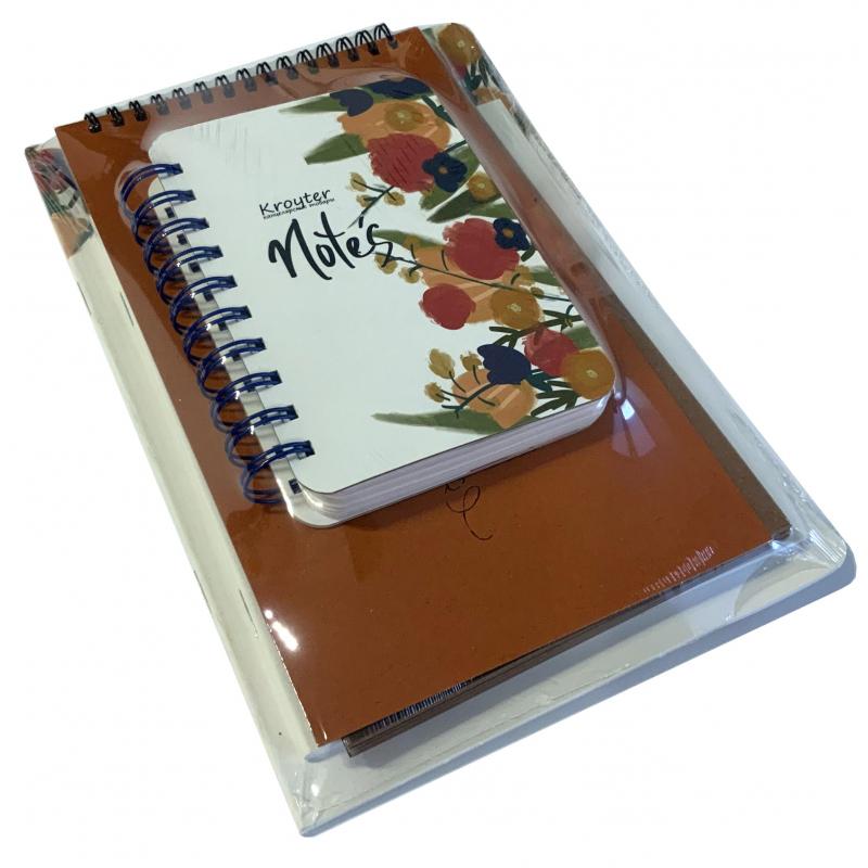 Набор Kroyter Flowers-Kraft 4предм: скетчбук, 2 тетради, блокнот, Н0004